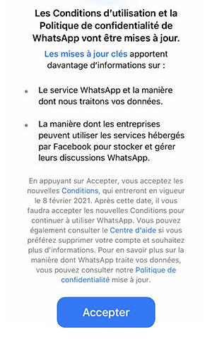 Mise à jour des Conditions d'utilisation et la Politique de confidentialité de WhatsApp
