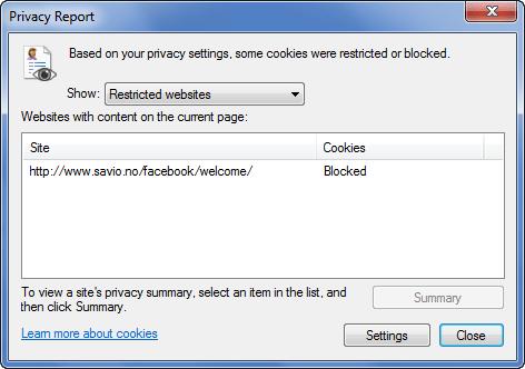 Internet Explorer - Cookies blocked