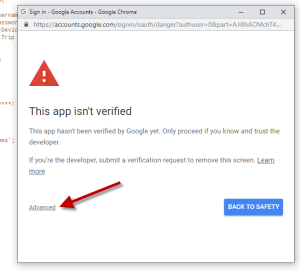 Google App Script: This App Isnt Verified