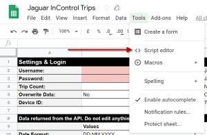 Google Sheets: Select Menu Tools -> Script-editor