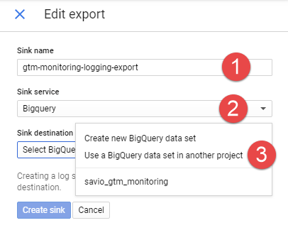 Stackdriver Logging - Create BigQuery Export