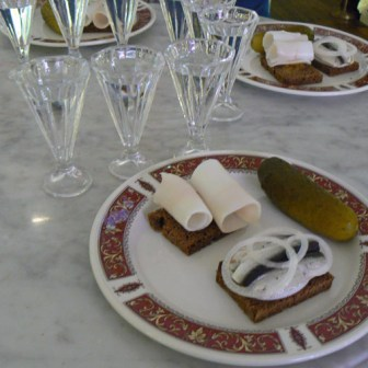 Our vodka tasting with traditional Russian snacks