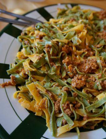 Handmade pasta bolognese for lunch