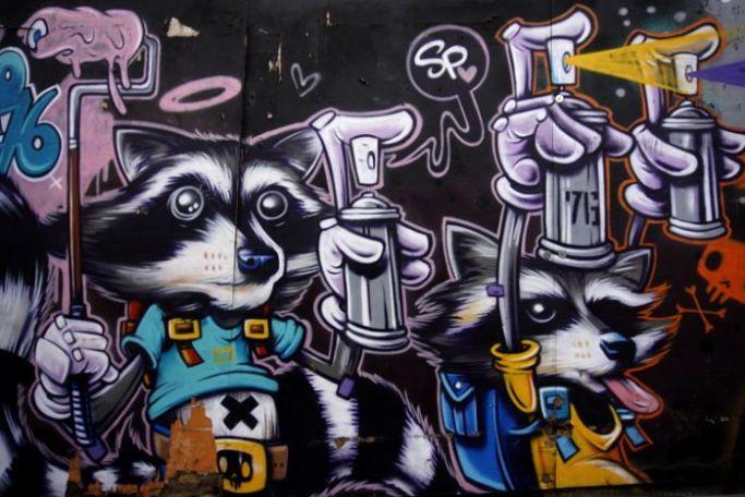 Graffiti raccoons