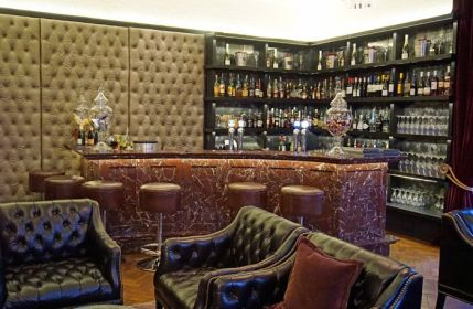 The red marble bar was brought over from China to complete the design at The Glazebrook House.