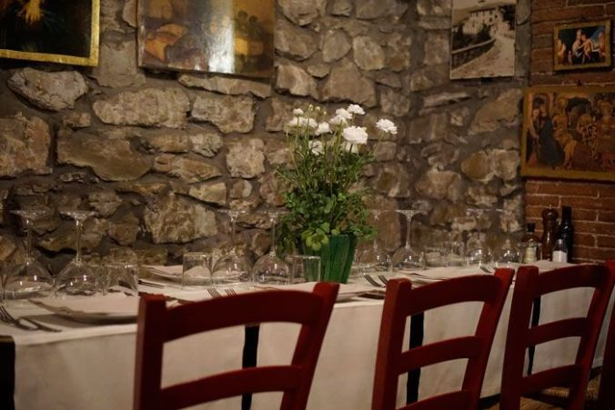 The beautiful dining room at La Castellana in Montefioralle, Italy