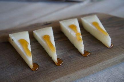 Cheese with truffle honey appetizer at Ristoro di Lamole