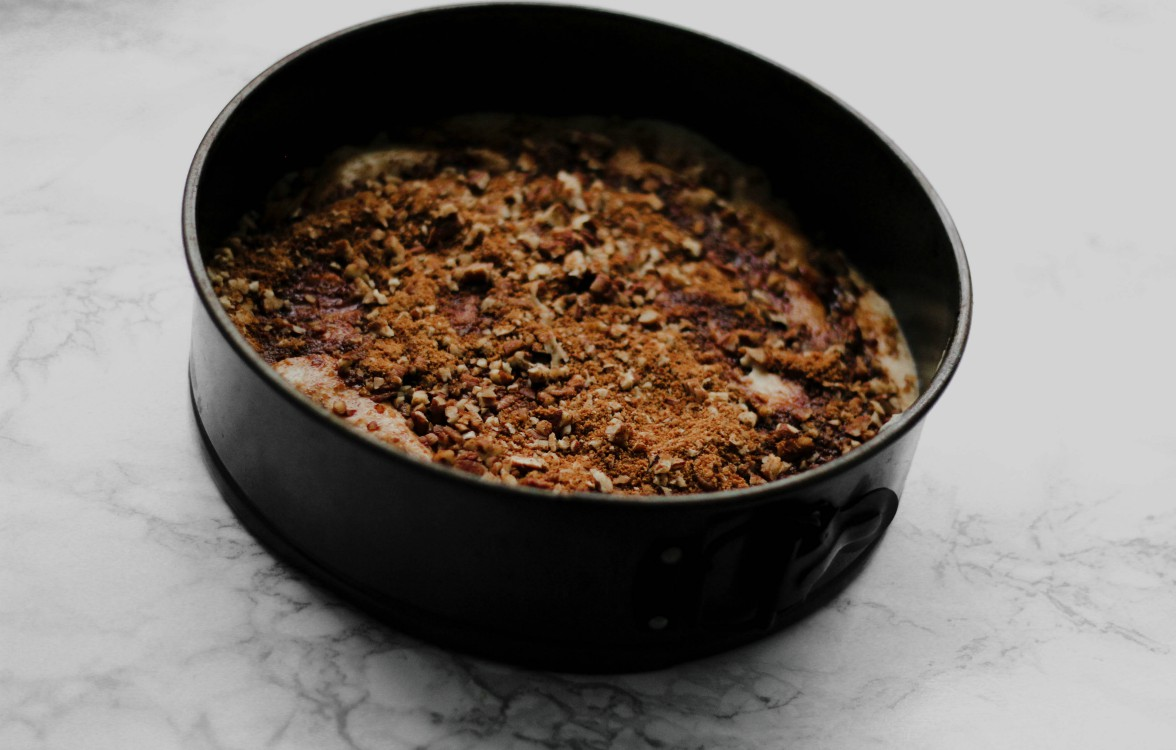overhead image of cake in spring form pan