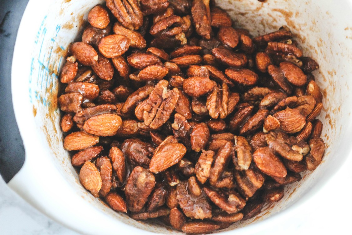 overhead image of nuts in a bowl