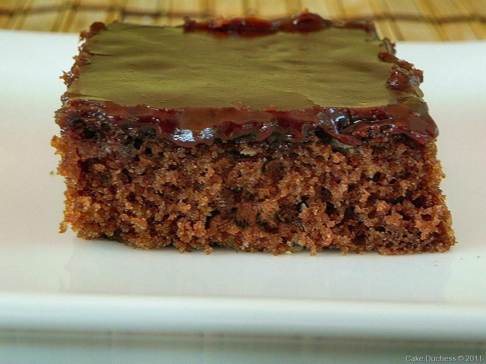 overhead image of texas sheet cake
