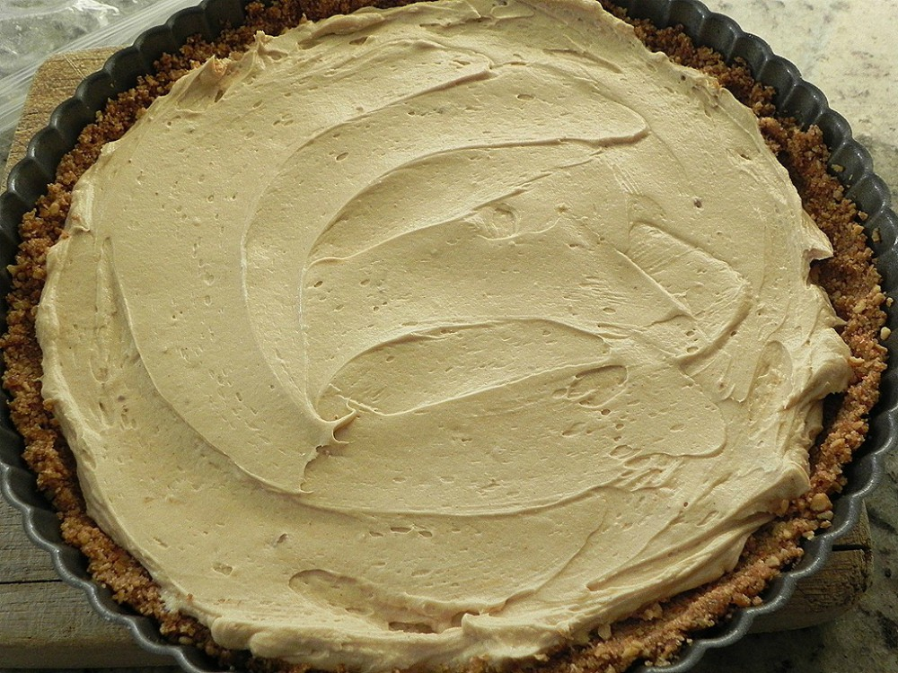 overhead image of peanut butter filled pie