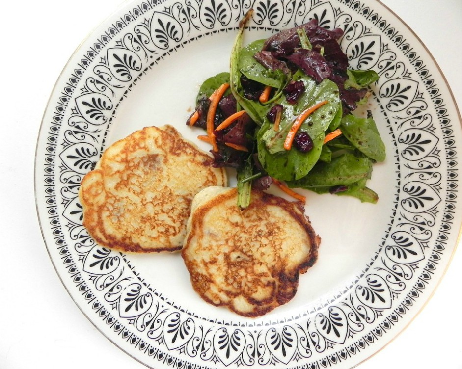 overhead image of pancakes with a salad
