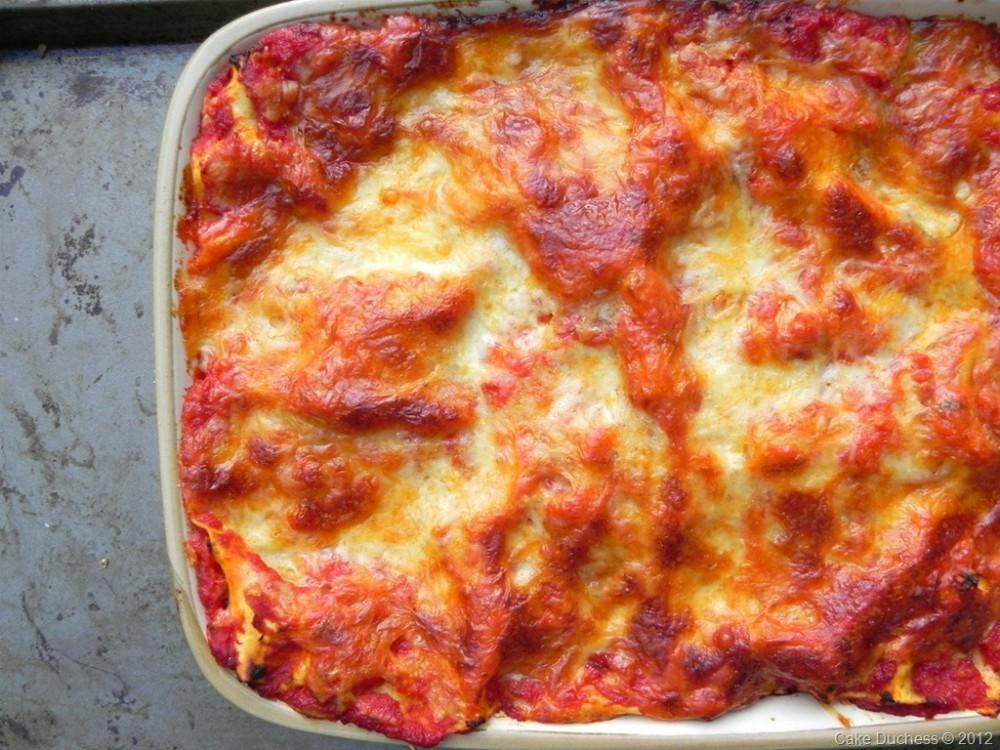 overhead image of eggplant lasagne
