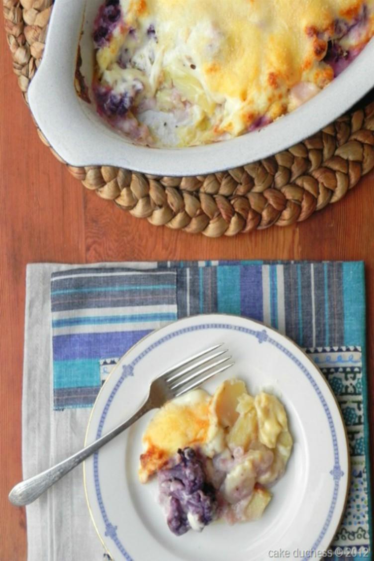 overhead image of purple cauliflower and potato gratin