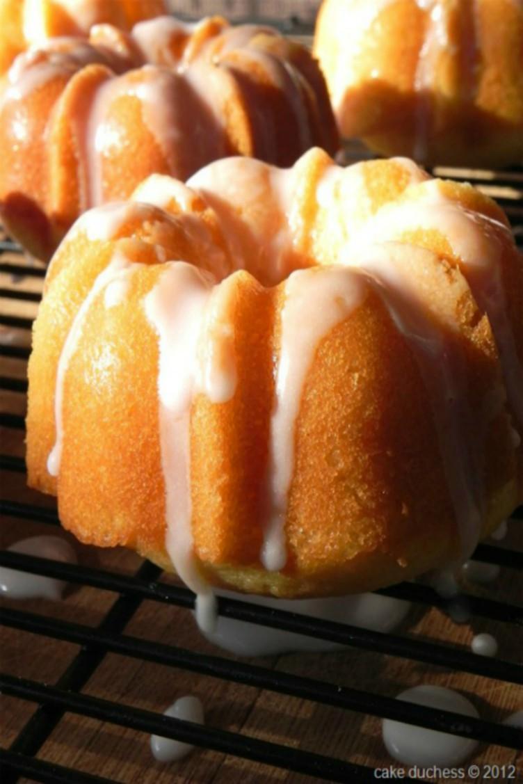 overhead imge of orange yogurt mini bundt cakes
