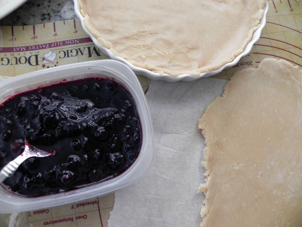 overhead image of making blueberry pie