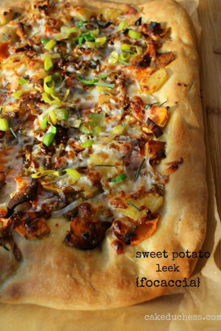 overhead image of sweet potato and leek focaccia