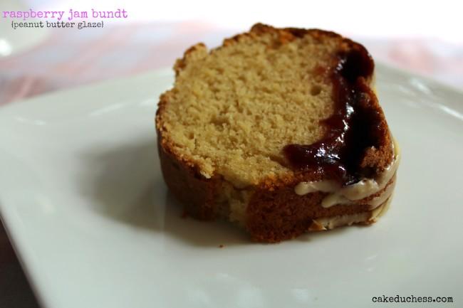Raspberry Jam Bundt with Peanut Butter Glaze