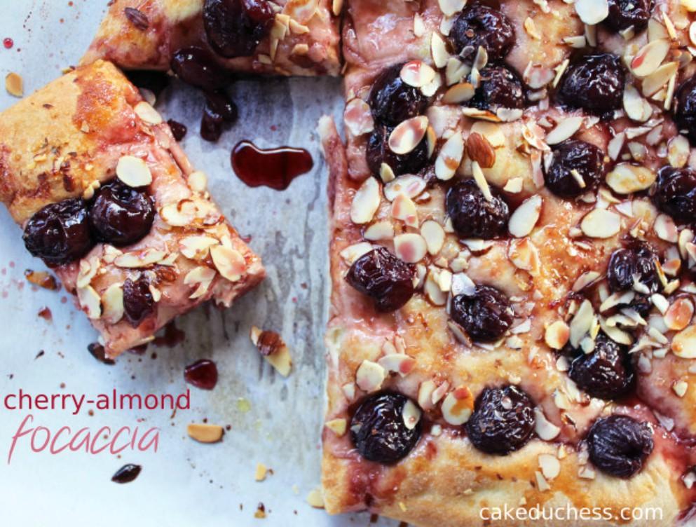 overhead image of cherry almond focaccia