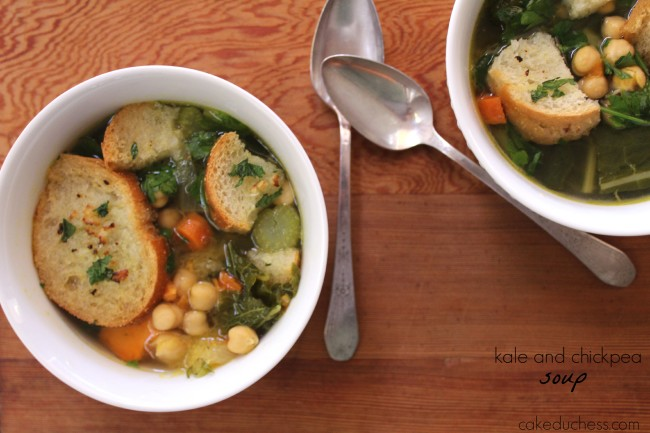 Kale and Chickpea Soup with Garlic Crostini