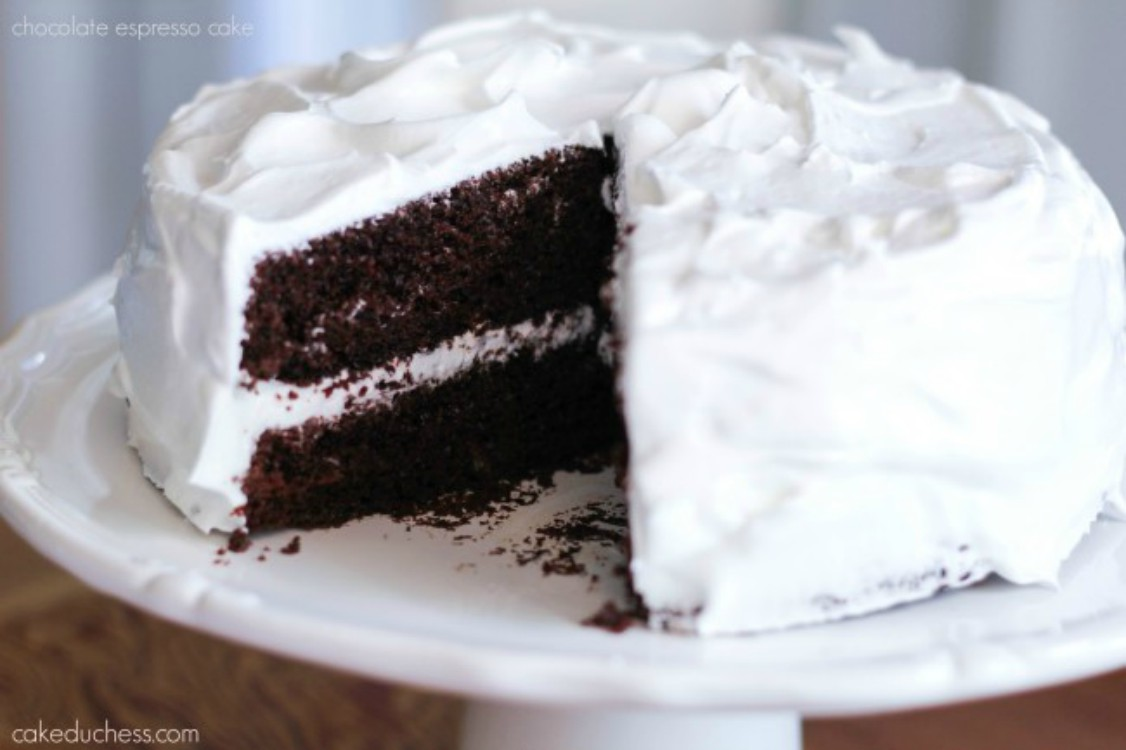 overhead image of chocolate cake with white frosting