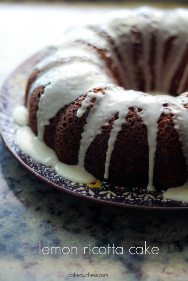 overhead image of bundt cake with icing drizzled over sides