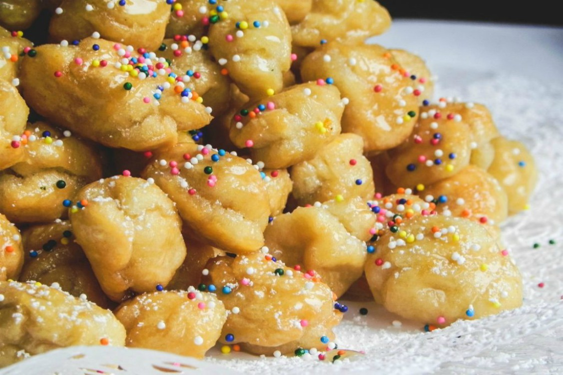 overhead image of fried honey balls