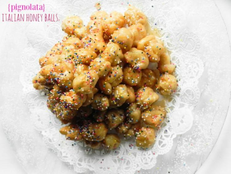 overhead image of pignolata honey balls