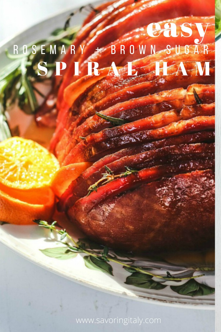 overhead image of baked ham with rosemary and oranges