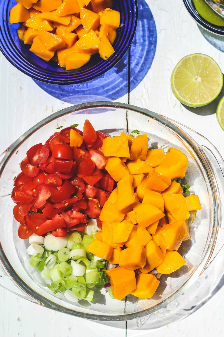 overhead image of making mango salsa