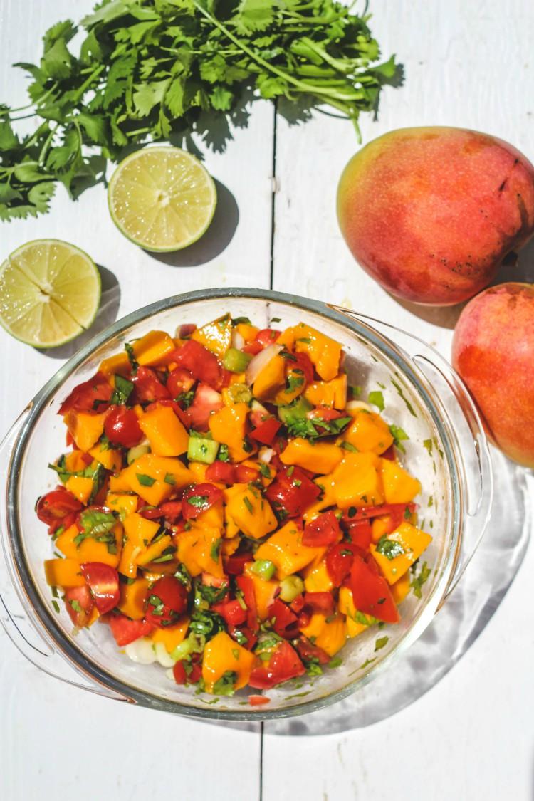 overhead image of mango salsa