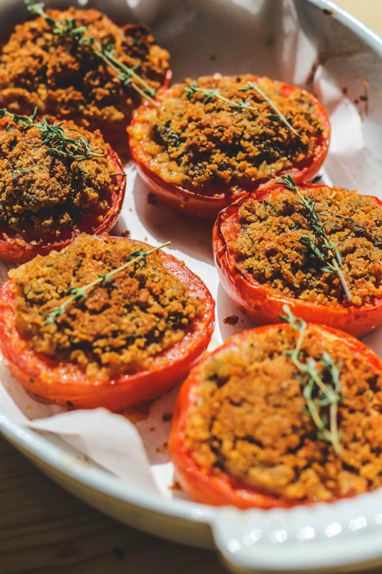 overhead image of tomato dish in white casserole