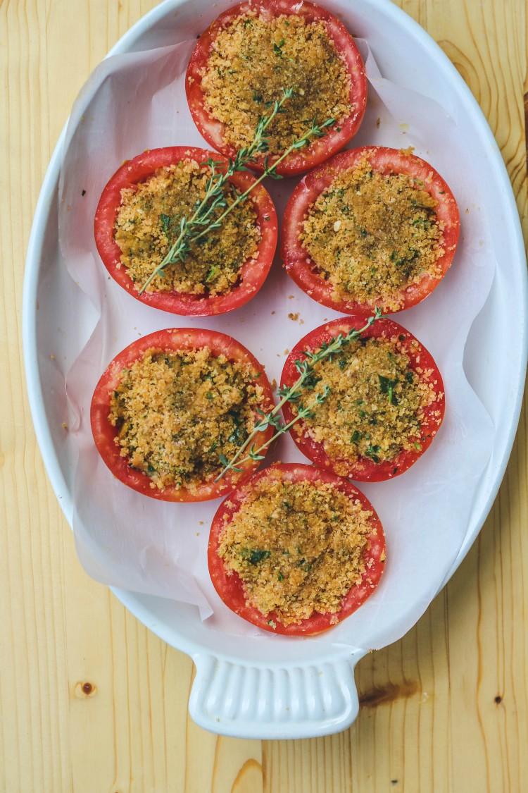 overhead image of tomato gratin in a white casserole