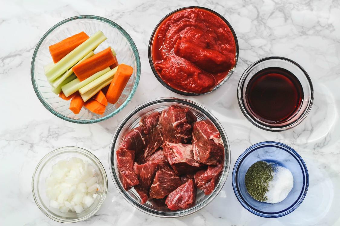 overhead image of making Italian beef stew