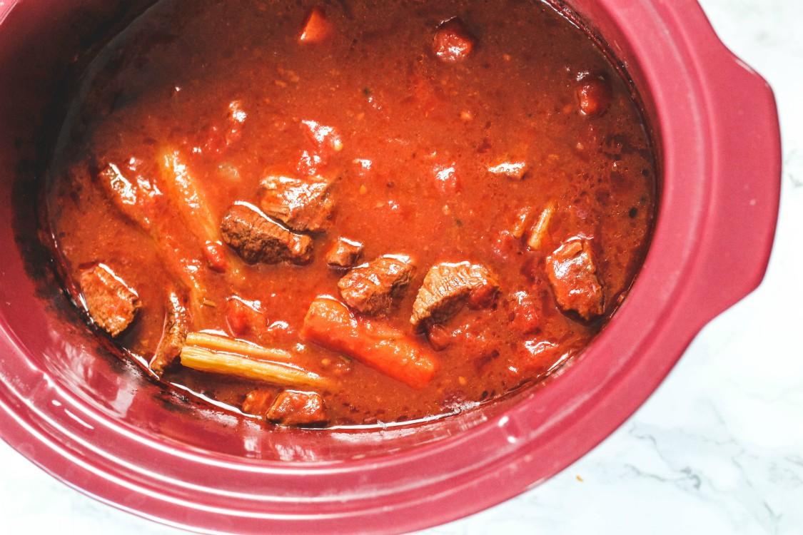 overhead image of making beef stew