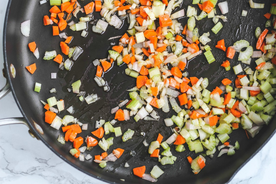 image of chopped vegetables in a large skillet