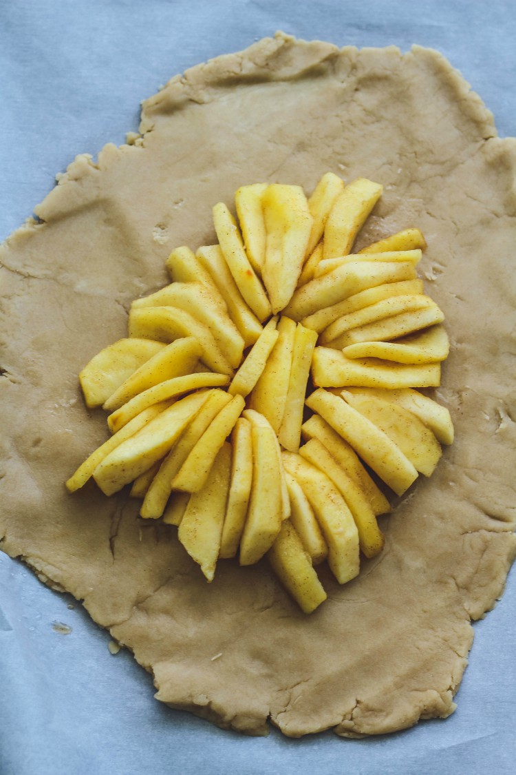 overhead image of dough with apple filling