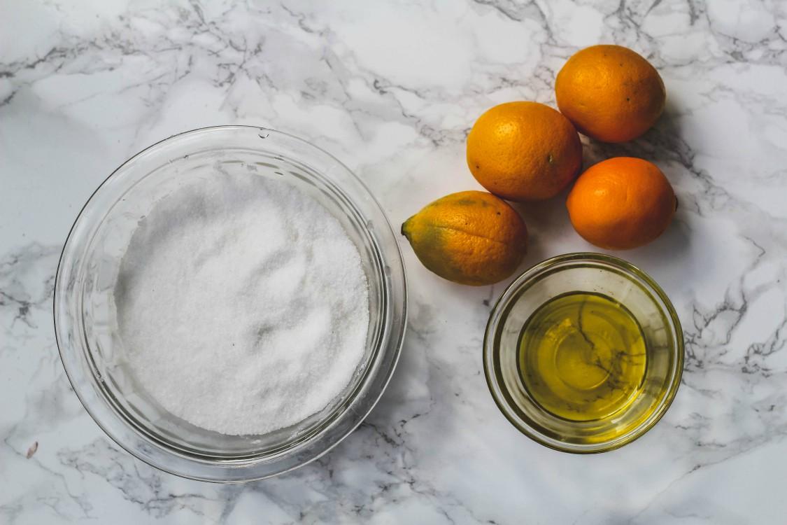 overhead image of making preserved lemons