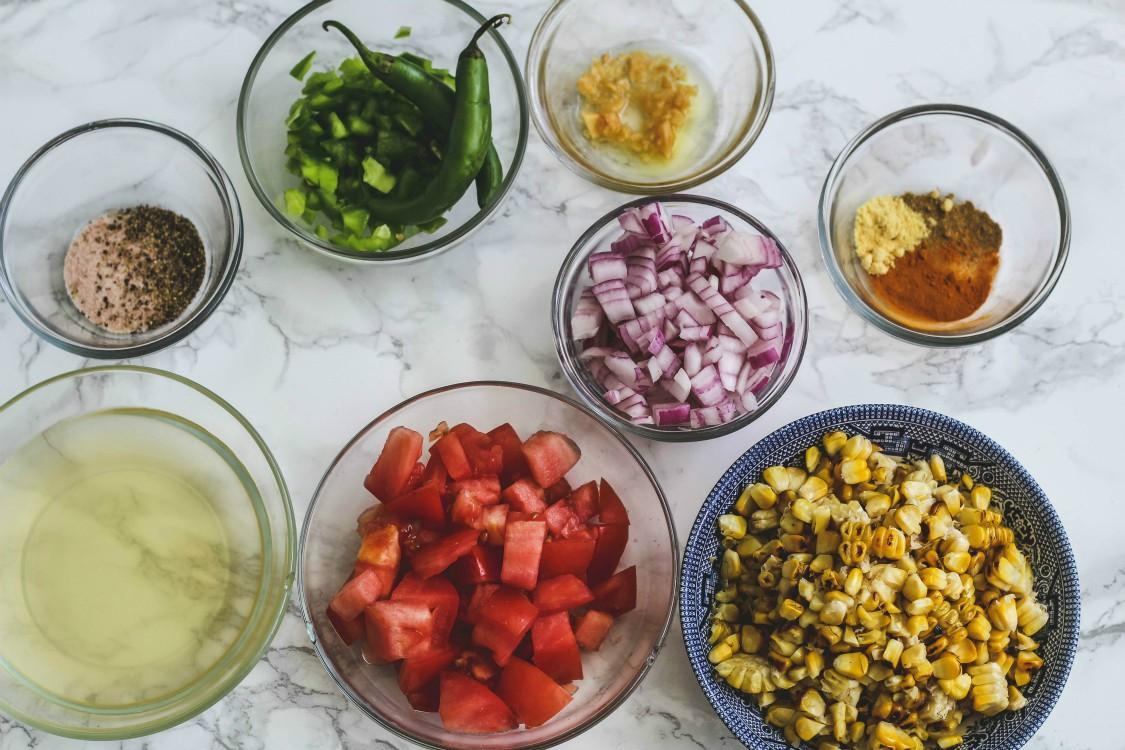 overhead image of making sweet corn relish