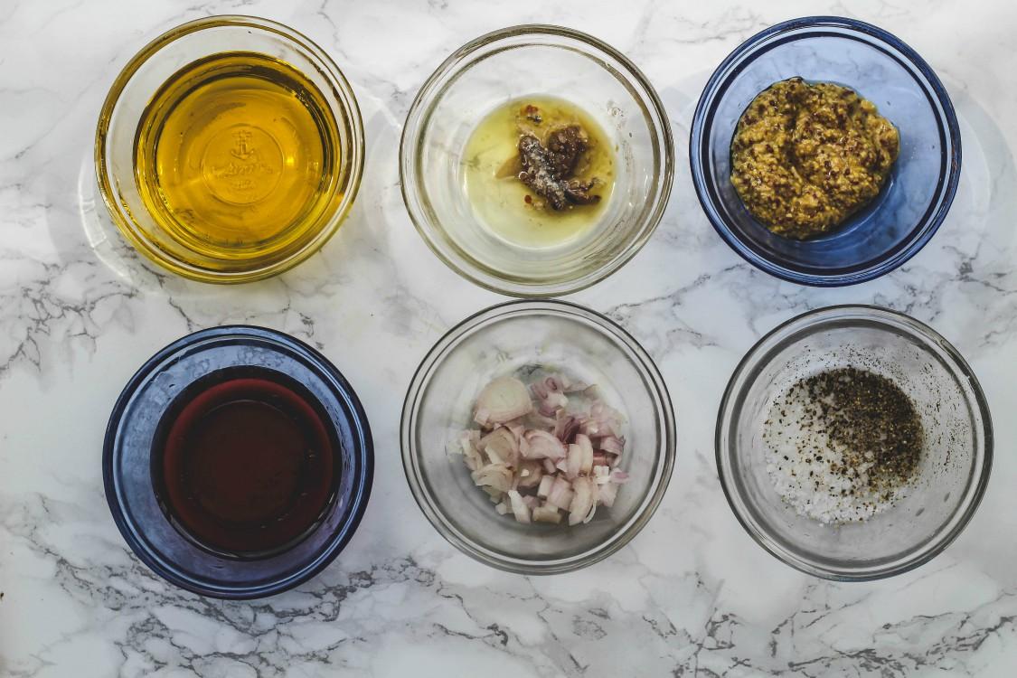 overhead image of making salad dressing