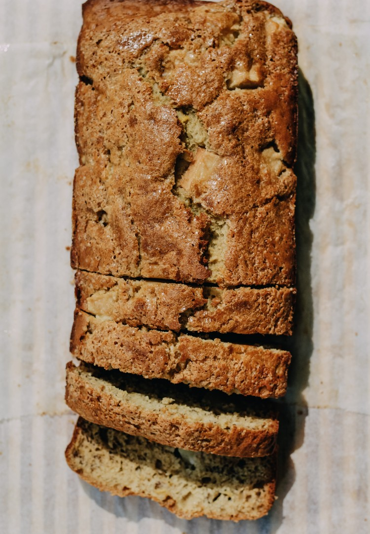 overhead image of sliced banana bread on parchment paper