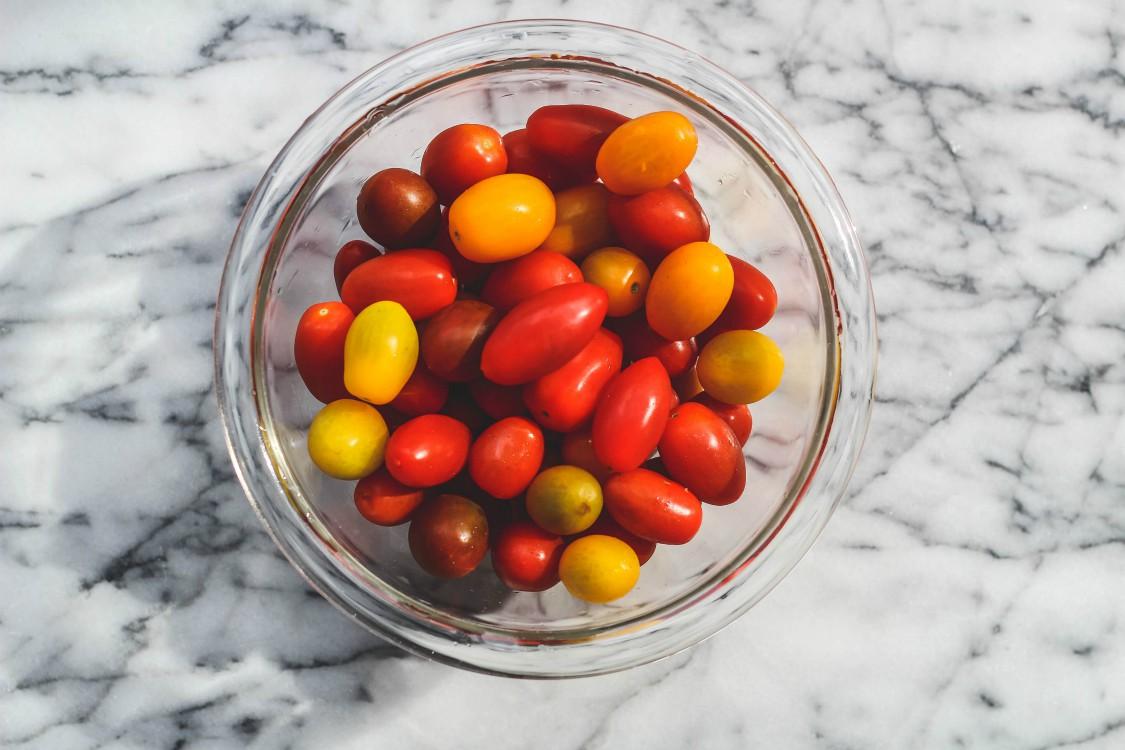 overhead image of cherry tomatoes
