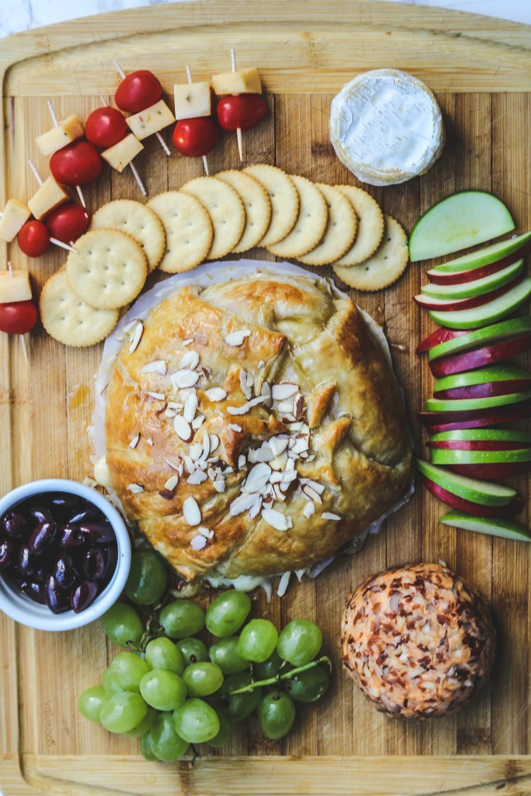 overhead image of cheese platter