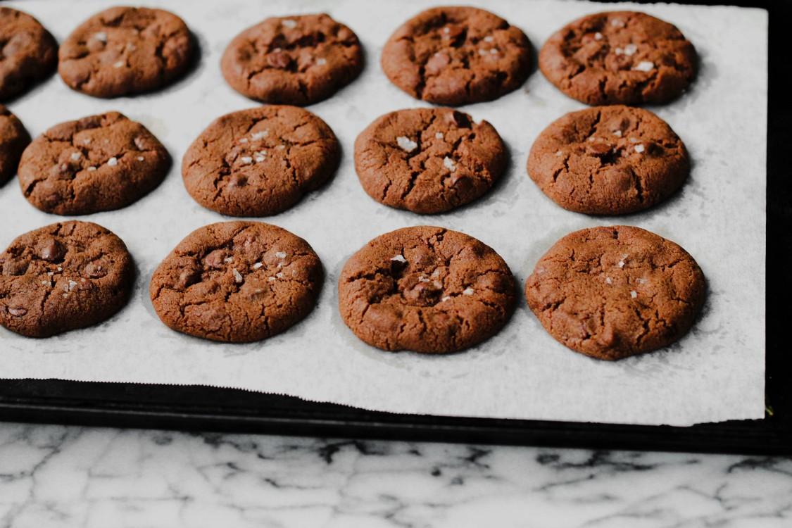 overhead image of cookies on baking sheet