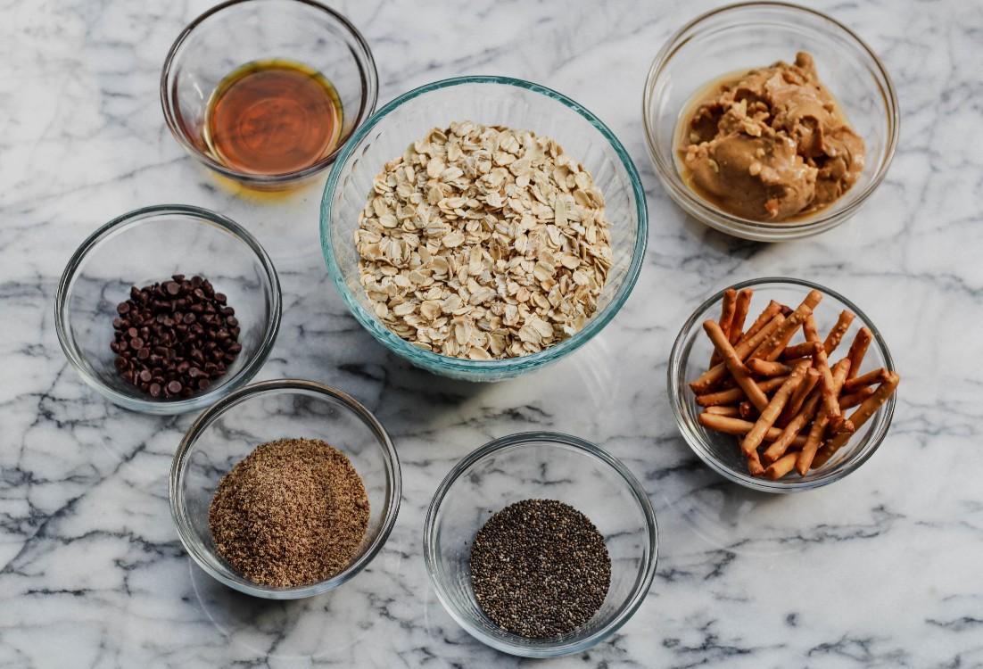 image of making peanut butter and pretzel energy bites