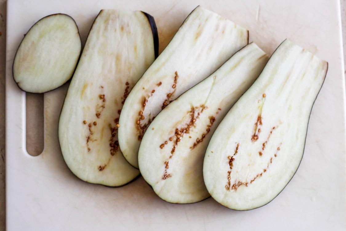 overhead image of eggplant slices