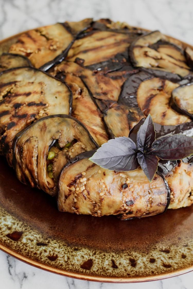 overhead image of Eggplant Timbale-Timballo di Melanzane