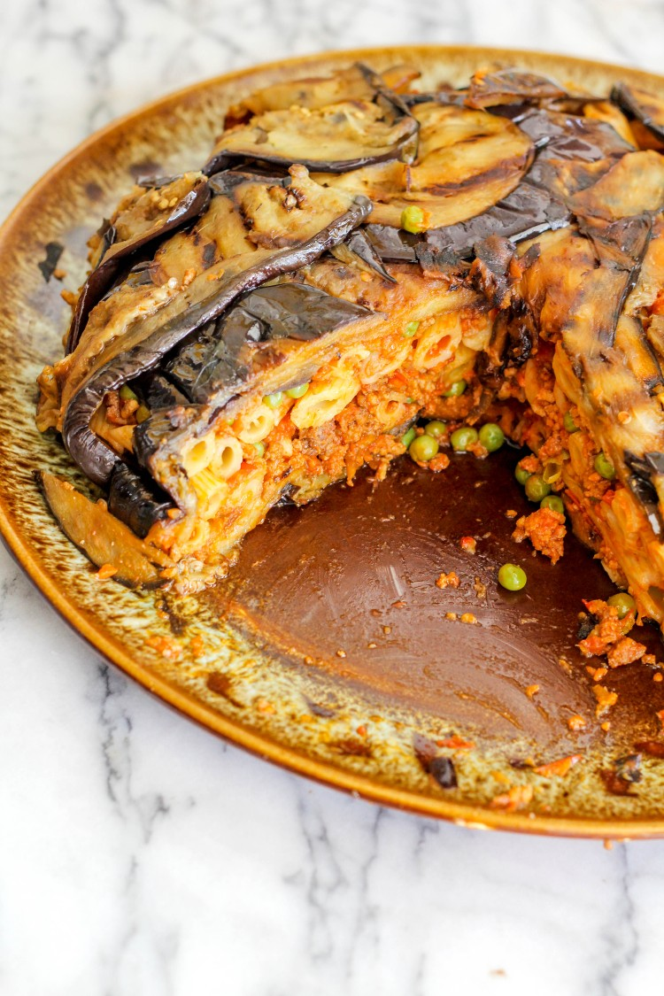 image of an eggplant timbale-timballo di melanazane sliced open