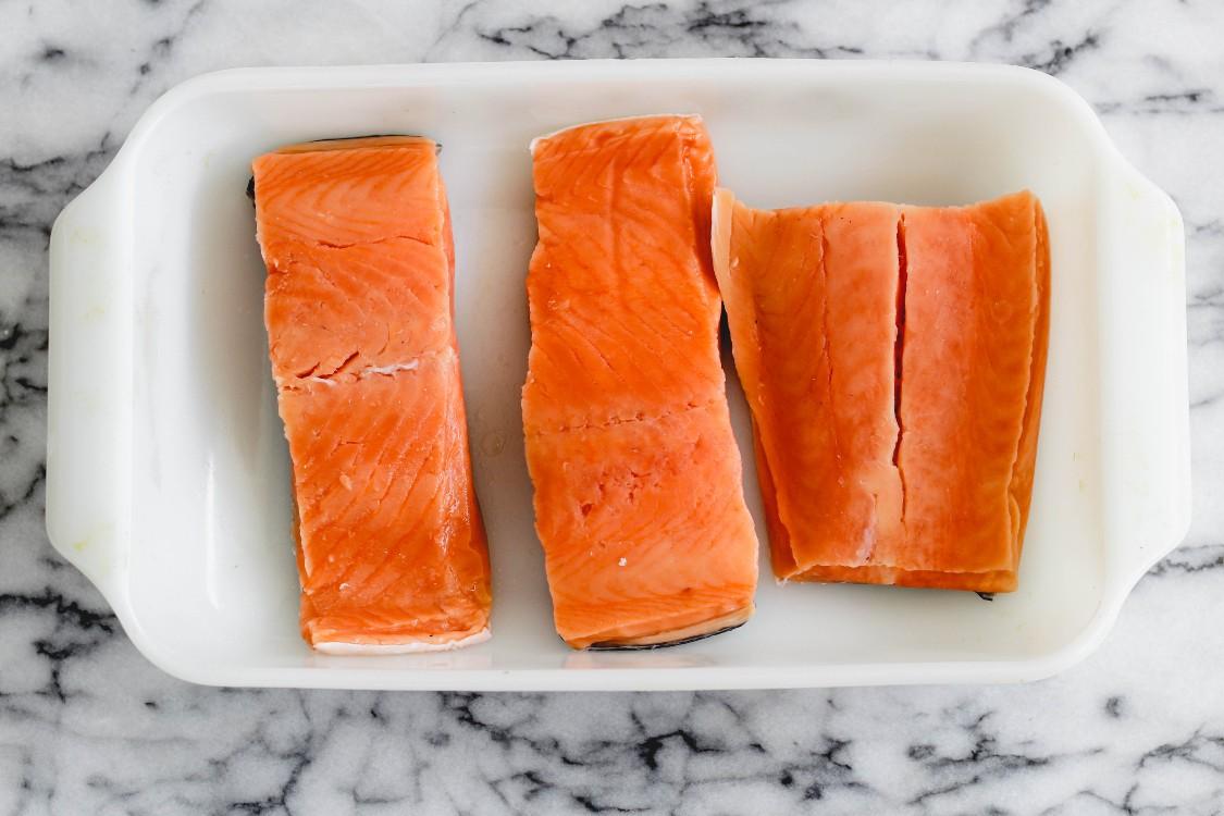 image of salmon in a white casserole