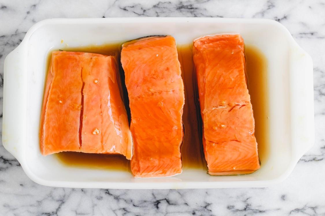 image of salmon marinating